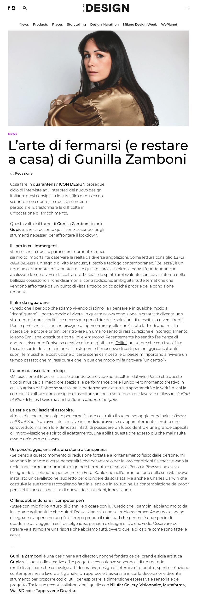 Gupica - intervista per Icon Design - marzo 2020